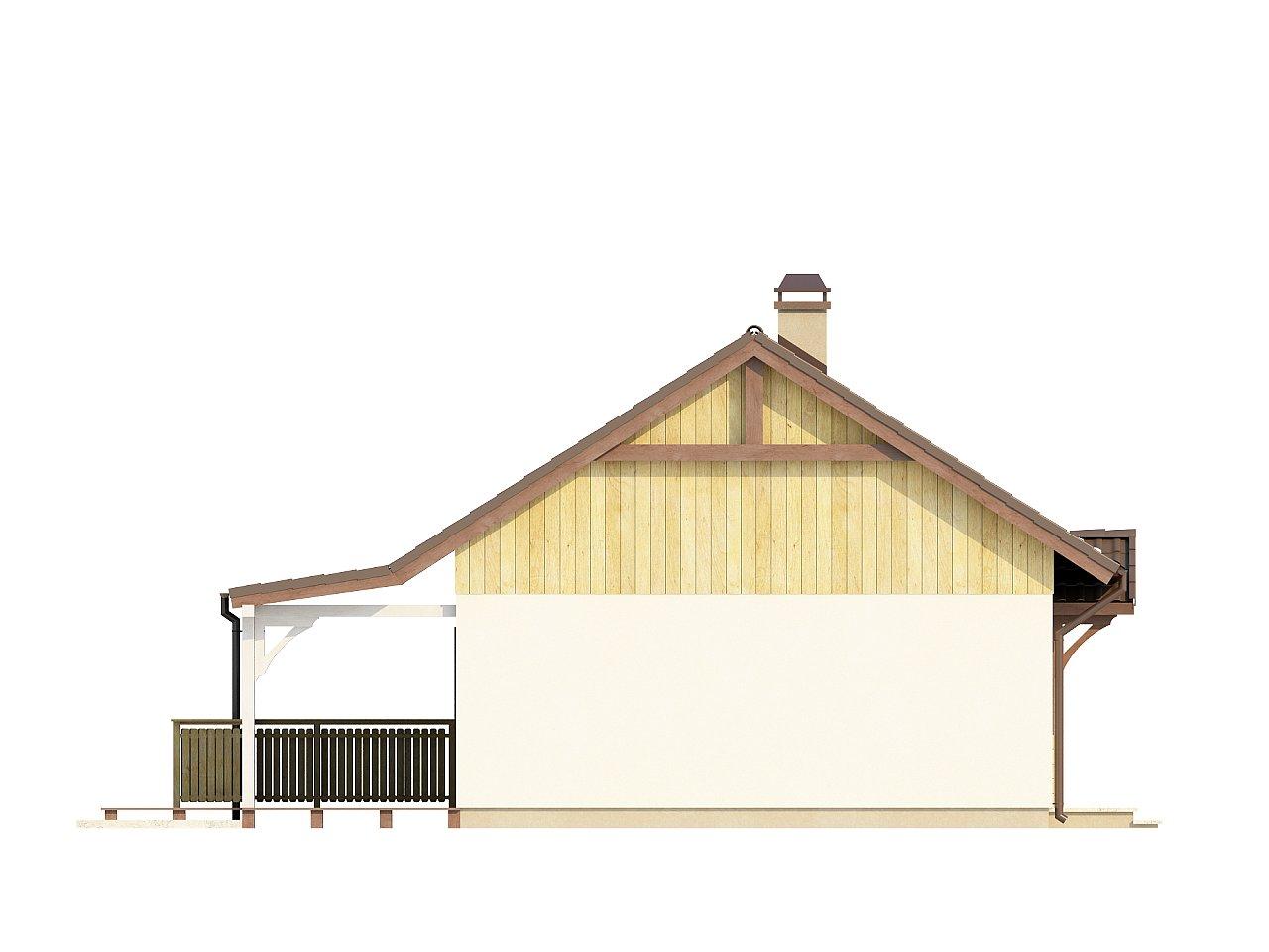 Выгодный в строительстве и эксплуатации маленький одноэтажный дом с крытой террасой. 13