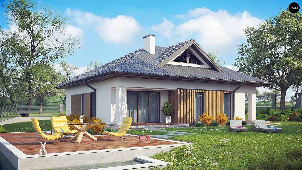 Проект комфортного одноэтажного дома с оригинальными фасадными окнами на чердаке. 1