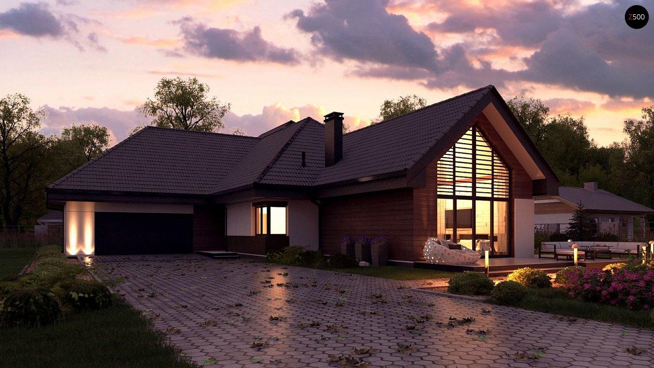 Одноэтажный дом в современном стиле, с многоскатной крышей и гаражом на два автомобиля. 2