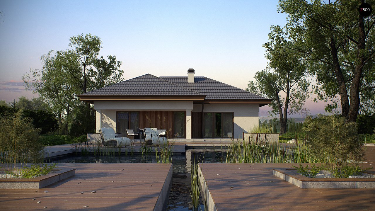 Одноэтажный дом с многоскатной крышей, с удобным функциональным интерьером. 4