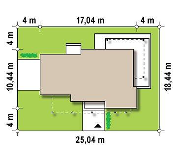 Двухэтажный дома в стиле модерн с практичным интерьером и гаражом для двух автомобилей. план помещений 1