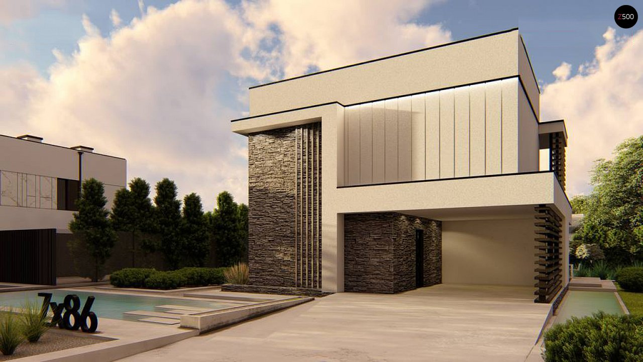 Двухэтажный проект дома для семьи из 4 человек с современным дизайном и навесом для машины 6