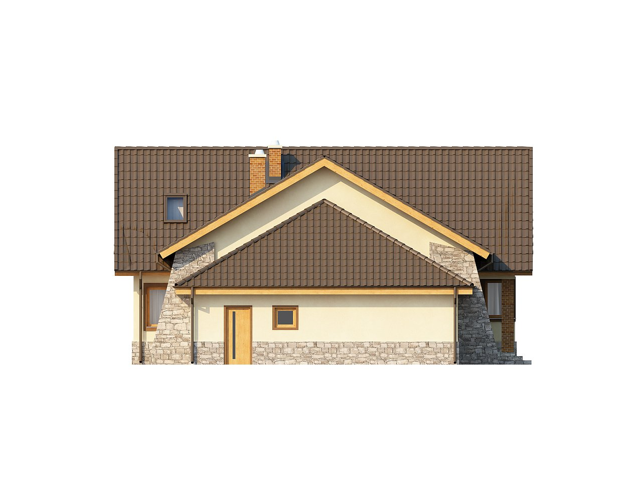 Проект традиционного дома с гаражом для двух машин и боковой террасой. 5