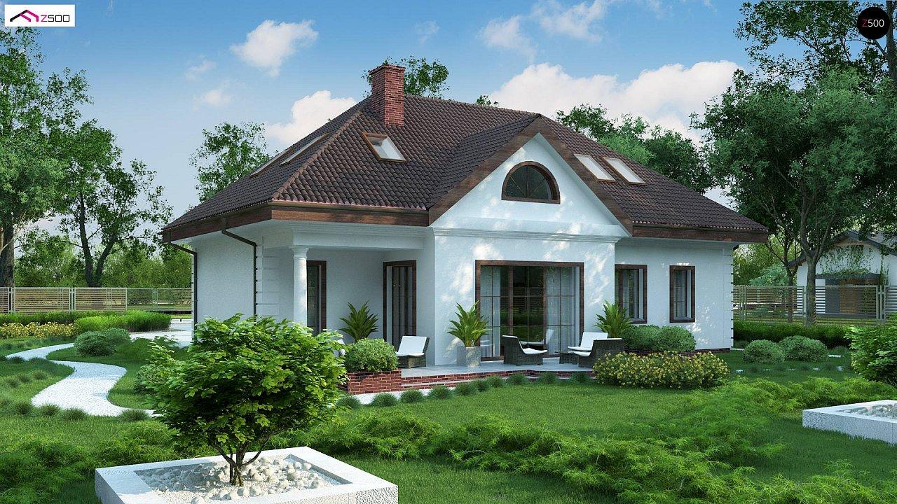 Проект дома в классическом стиле с роскошной мансардой и стильным экстерьером. - фото 3