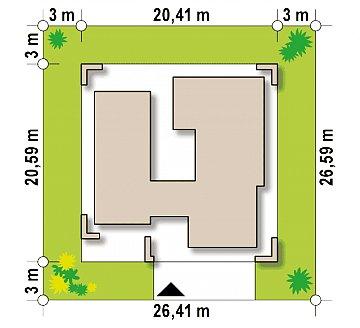 Современный односемейный одноэтажный дом с плоской крышей план помещений 1