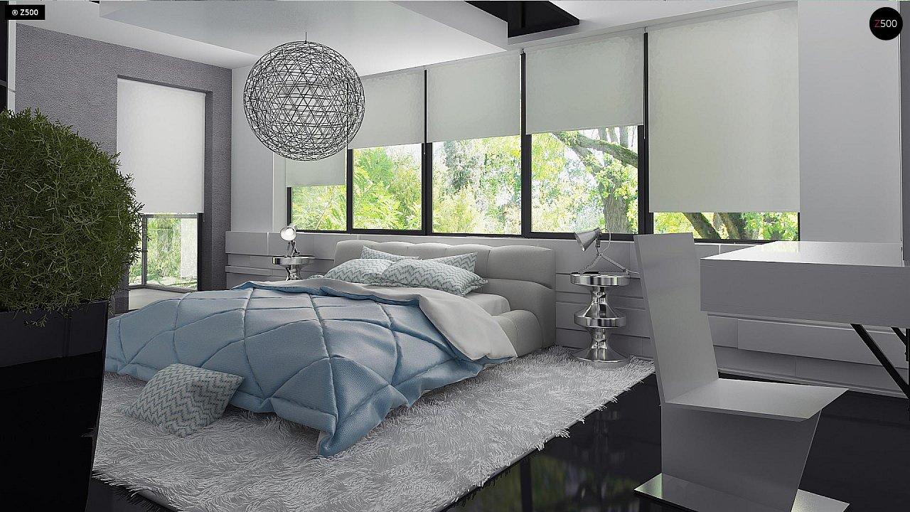 Современный двухэтажный дом с гаражом и террасой, спальней на первом этаже и ванной комнатой 16
