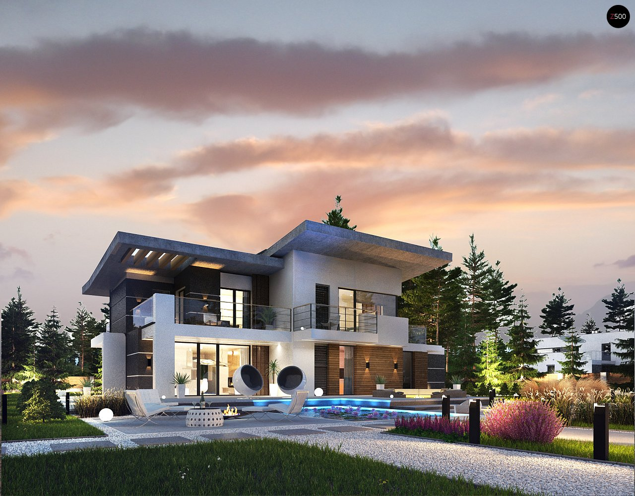Современный двухэтажный дом с гаражом и террасой, спальней на первом этаже и ванной комнатой 7