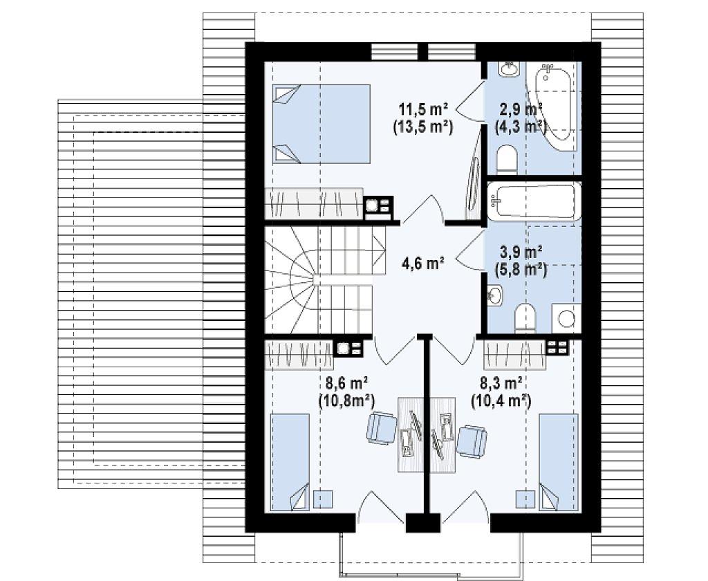 Версия дома Z177 с гаражом, пристроенным с левой стороны. план помещений 2