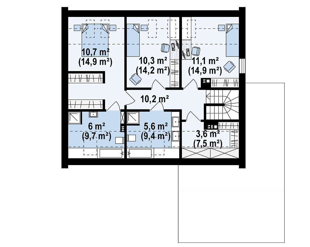 Проект дома с мансардой, террасой на первом этаже и гаражом на одну машину. план помещений 2