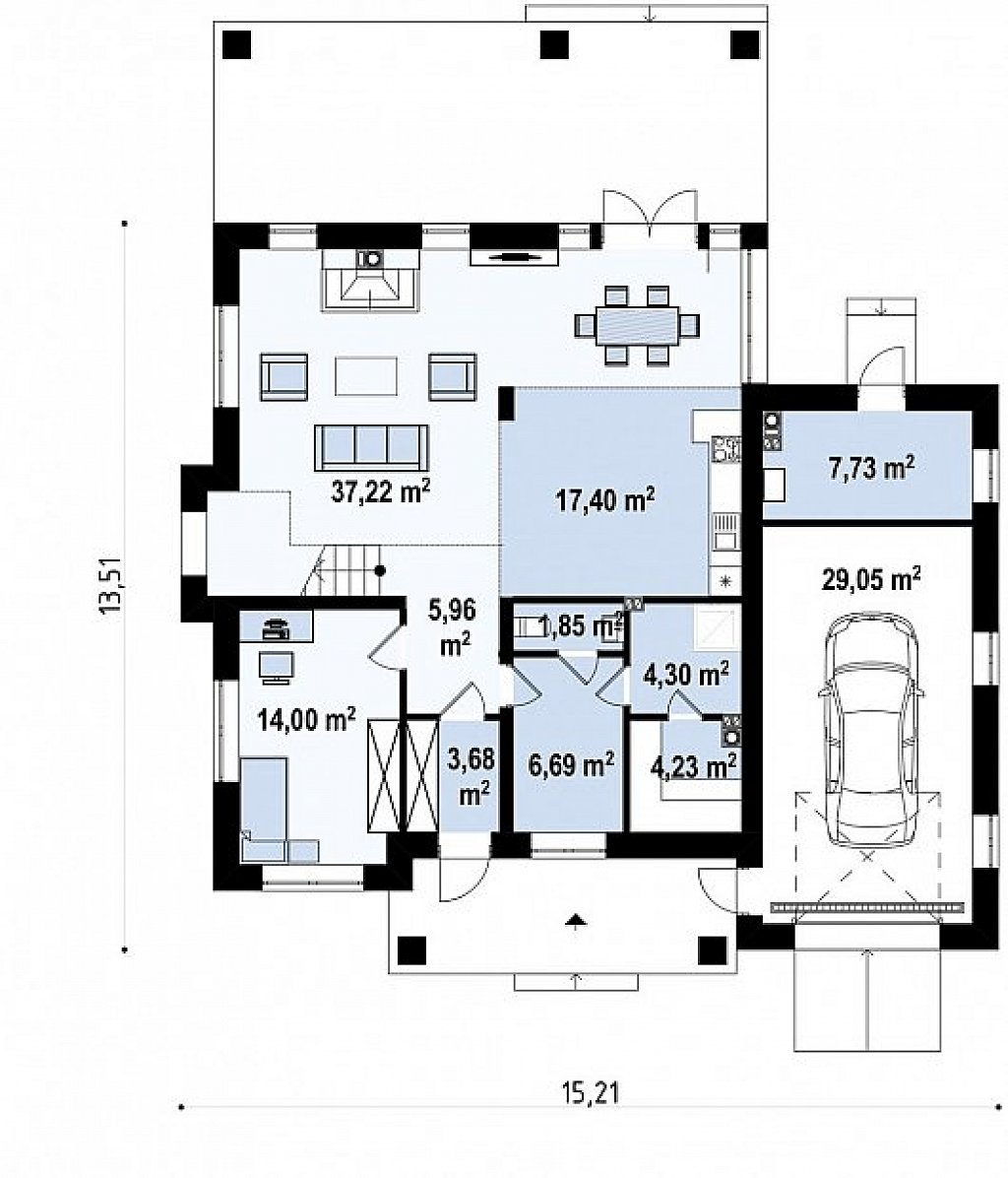 Вариант проекта Zz2 L + с плитами перекрытия план помещений 1