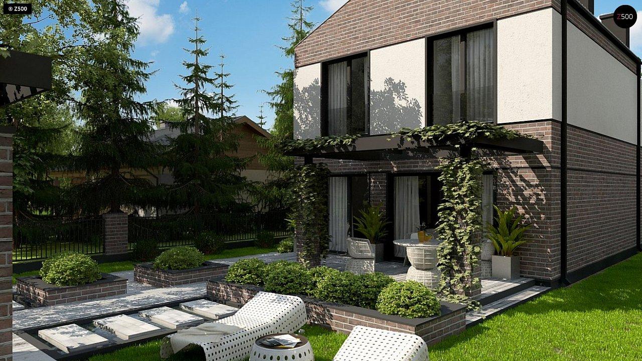 Проект компактного современного дома с двухуровневой планировкой и гаражом на один автомобиль. 6