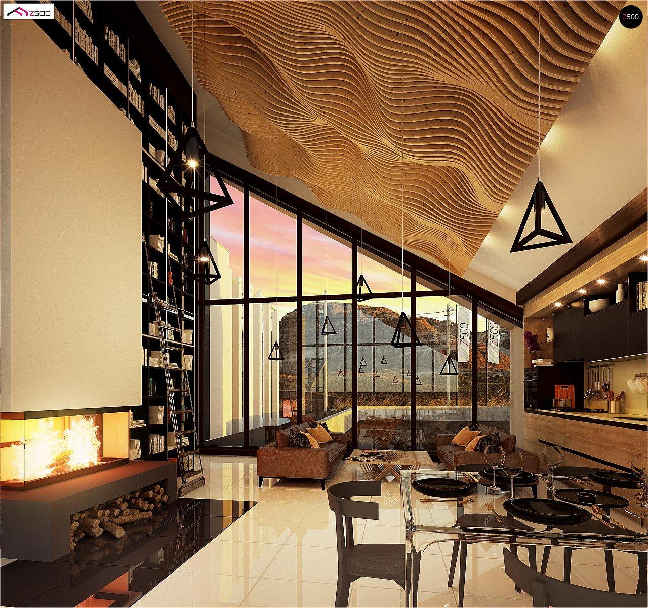 Современный дом с просторной гостиной и большим остеклением - фото 7