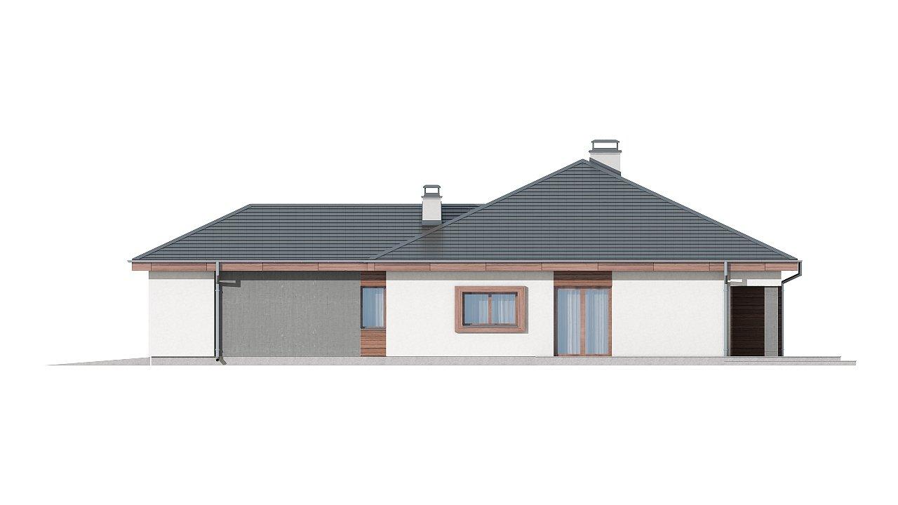 Проект одноэтажного дома с многоскатной кровлей, с фронтальным гаражом. - фото 16