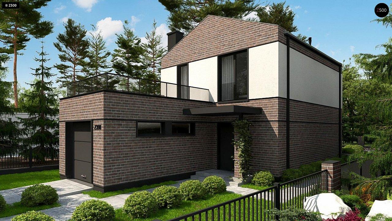Проект компактного современного дома с двухуровневой планировкой и гаражом на один автомобиль. 3