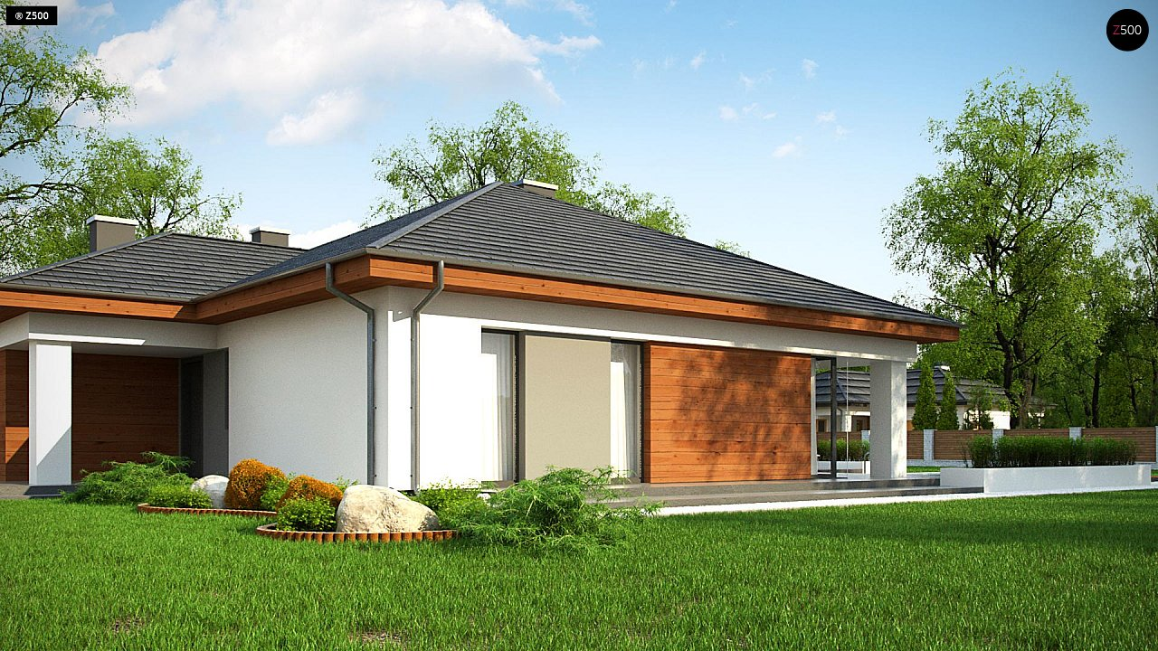 Проект комфортного одноэтажного дома с гаражом для двух авто. 3