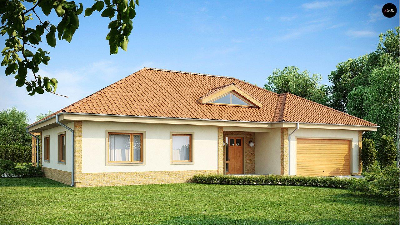 Проект просторного одноэтажного дома с возможностью обустройства мансарды. 1