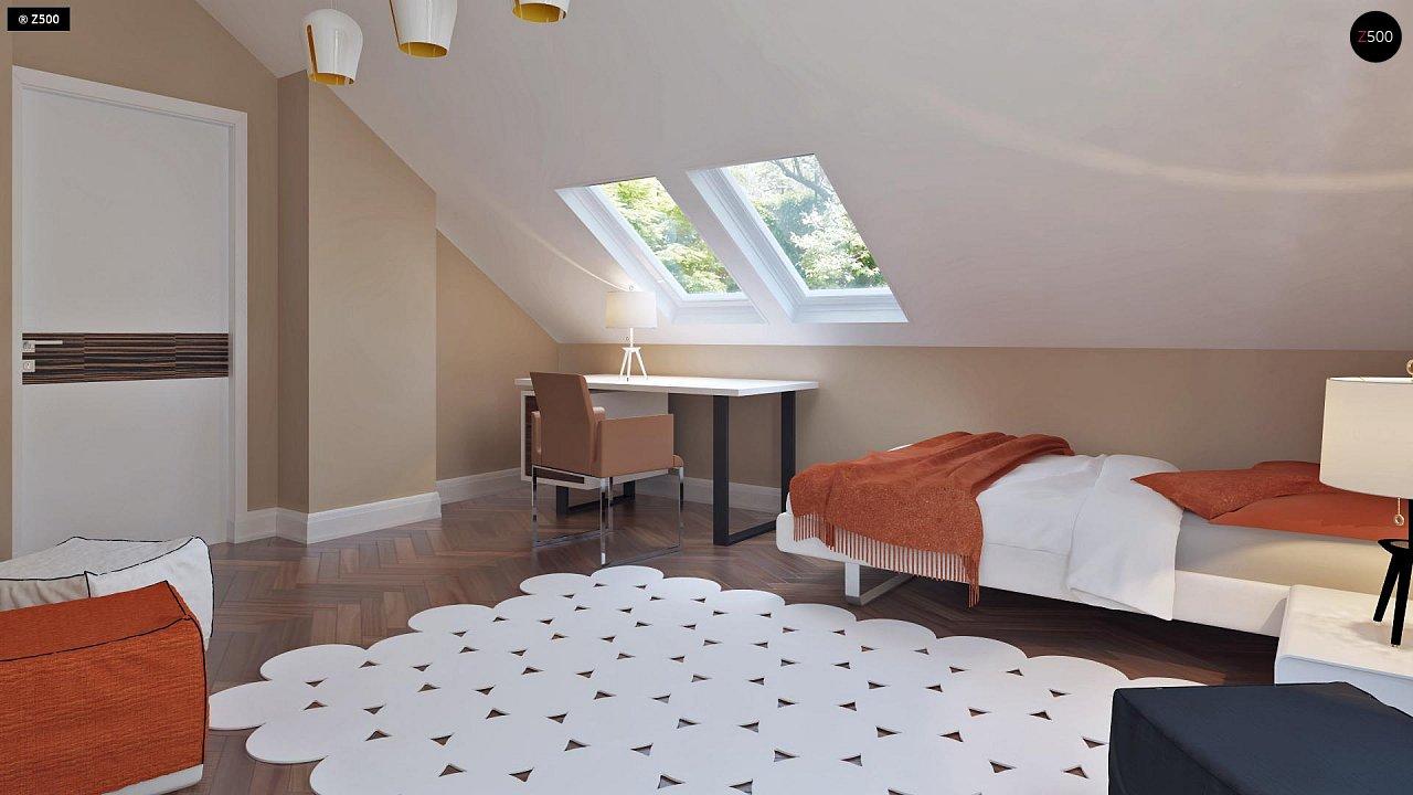 Аккуратный дом простой традиционной формы с гаражом и дополнительной спальней на первом этаже. 19