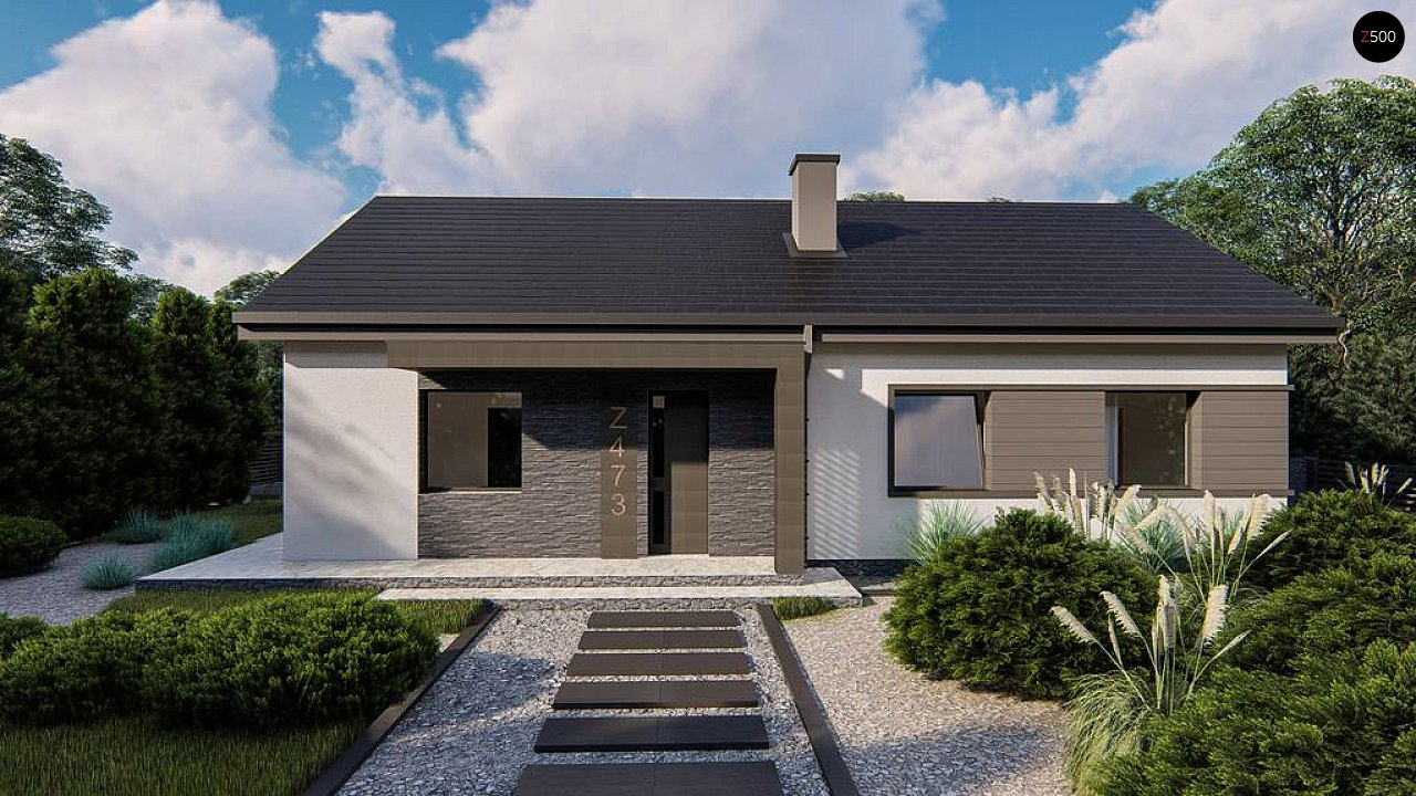 Классический одноэтажный дом с двускатной крышей 3