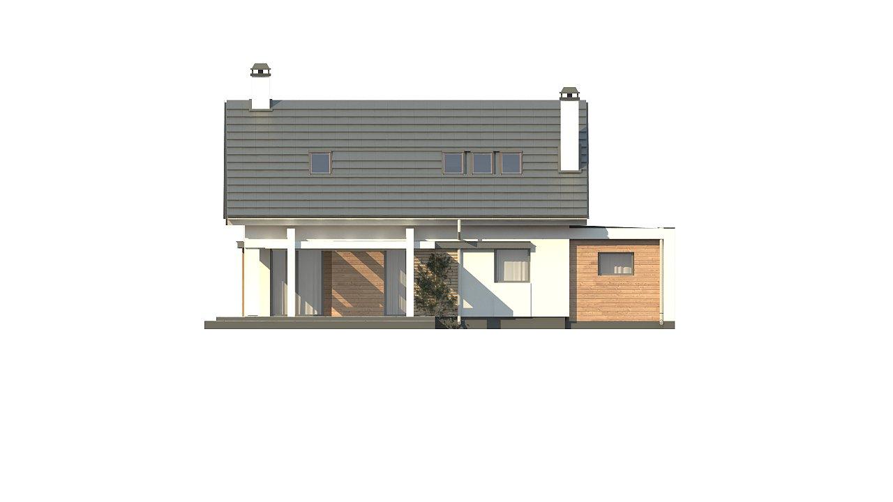 Дом с мансардой с гаражом с левой стороны для одной машины. 9