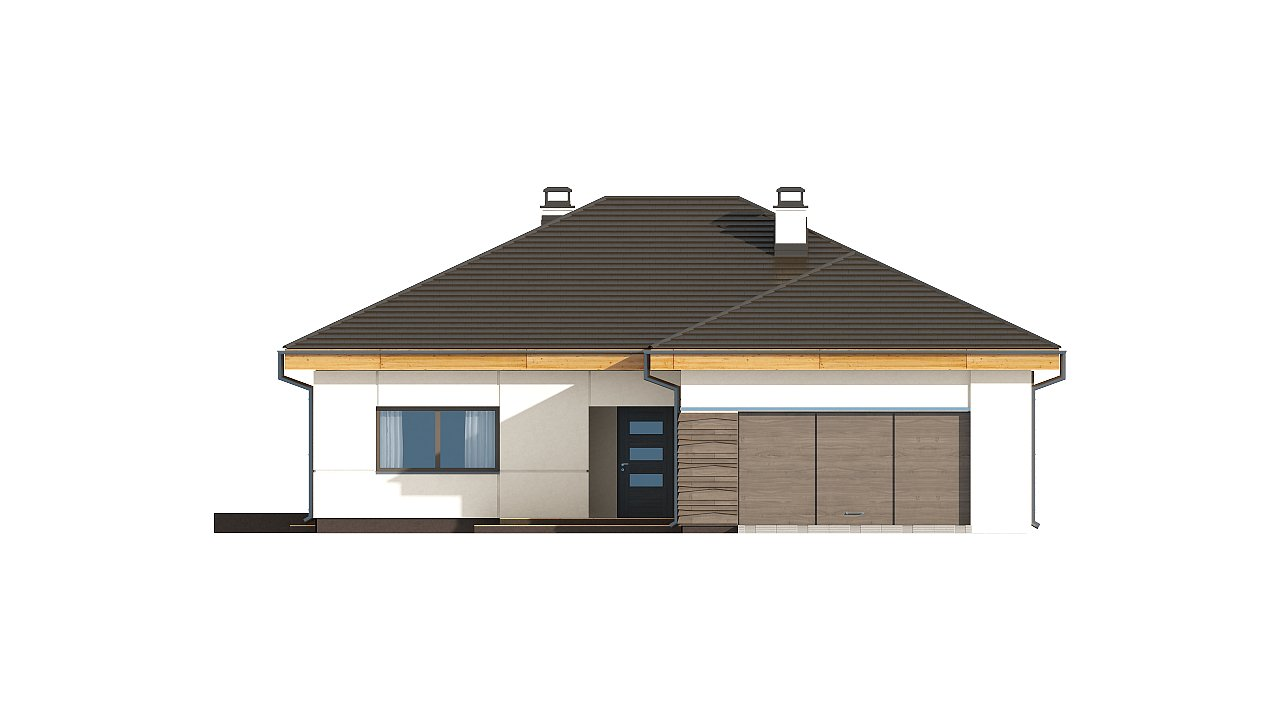 Проект одноэтажного дома с фронтальным выступающим гаражом и возможностью обустройства мансарды. 11