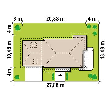 Просторный и функциональный двухэтажный дом с многоскатной кровлей и гаражом. план помещений 1