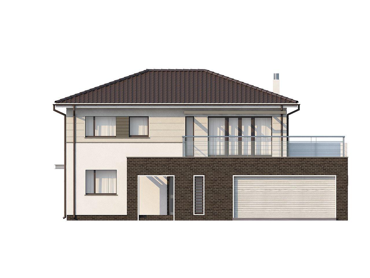 Практичный двухэтажный дом простой формы с низкой крышей, с гаражом для двух автомобилей. - фото 3