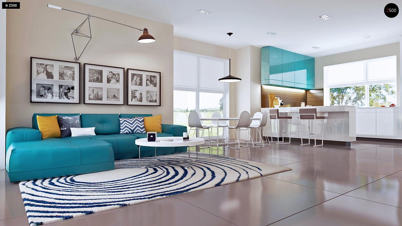 Проект практичного дома с большим хозяйственным помещением, с кабинетом на первом этаже. 7