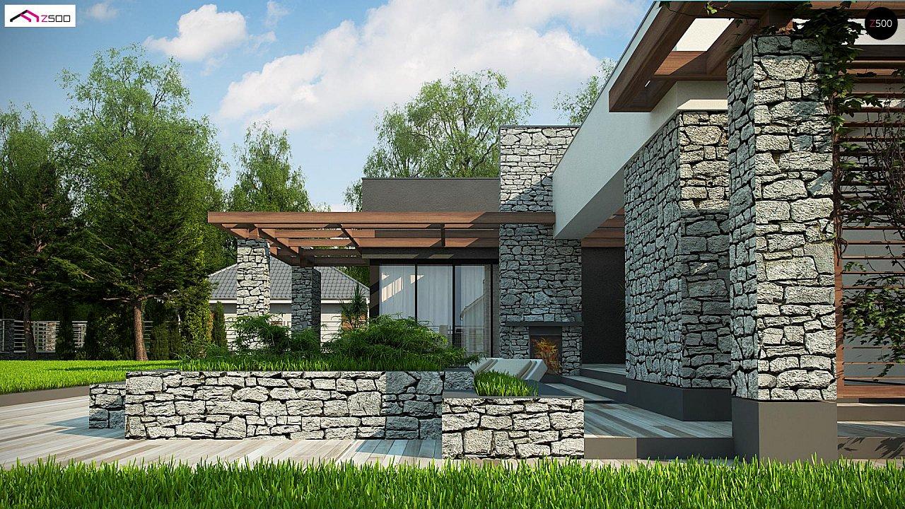 Современный одноэтажный дом с двойным гаражом и плоской крышей 4