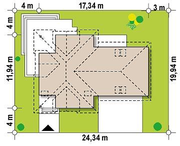 Версия проекта Z284 c большим гаражом справа, рассчитанным на 2 машины план помещений 1