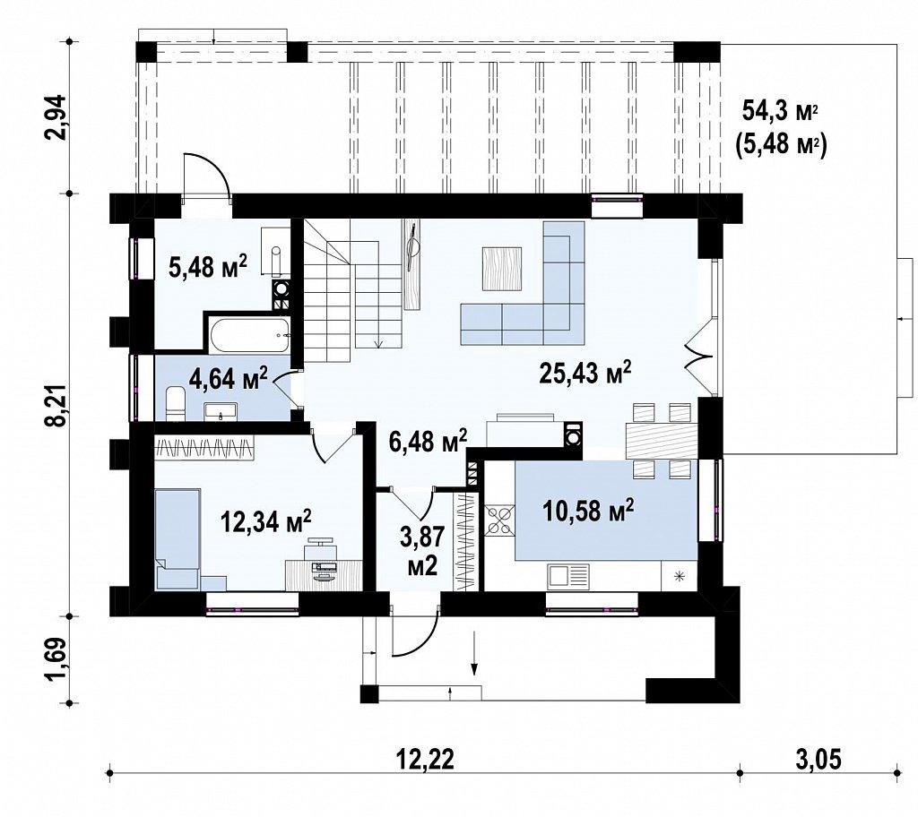 Двухэтажный коттедж с уютной террасой и балконом план помещений 1