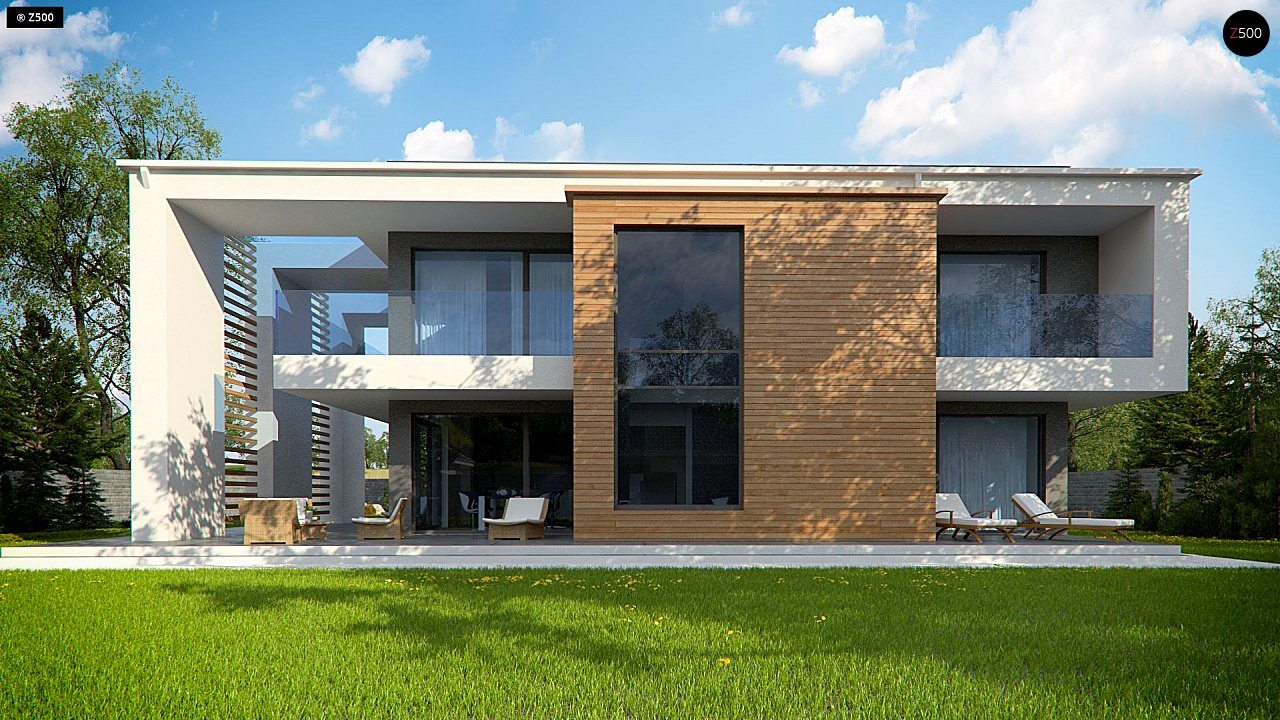 Современный двухэтажный дом с большим остеклением и гаражом на две машины 6