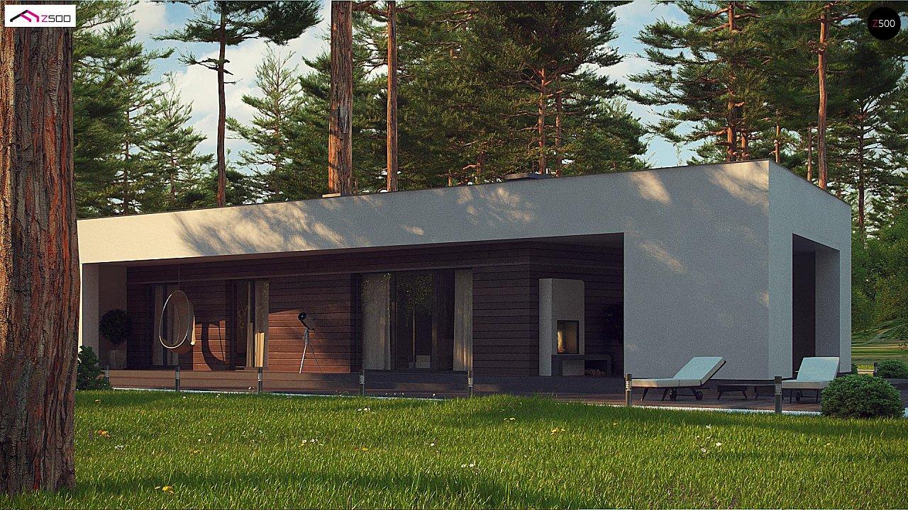 Современный одноэтажный дом с боковой террасой 8