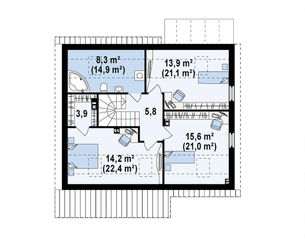 Проект дома с мансардой, с дополнительной спальней на первом этаже и с застекленной террасой. план помещений 2