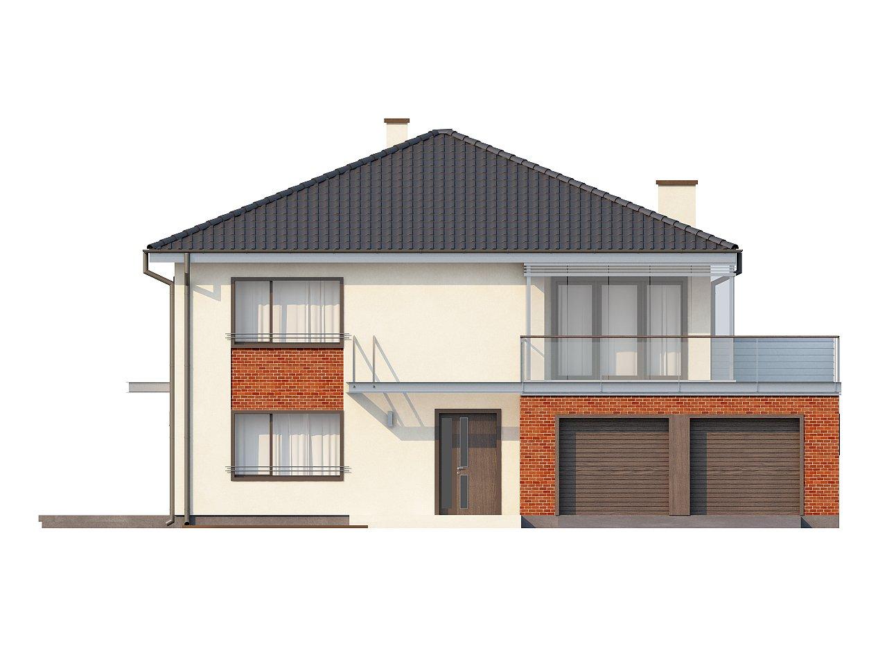 Комфортабельный двухэтажный дом простой формы со стеклянным эркером над гаражом. - фото 3