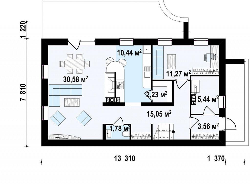 Версия проекта Zx60 без гаража. план помещений 1