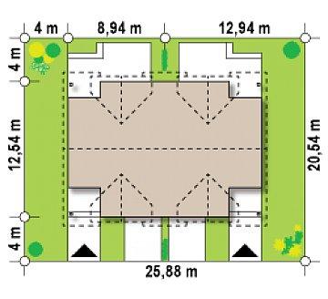 Дома близнецы элегантного дизайна со встроенным гаражом. план помещений 1