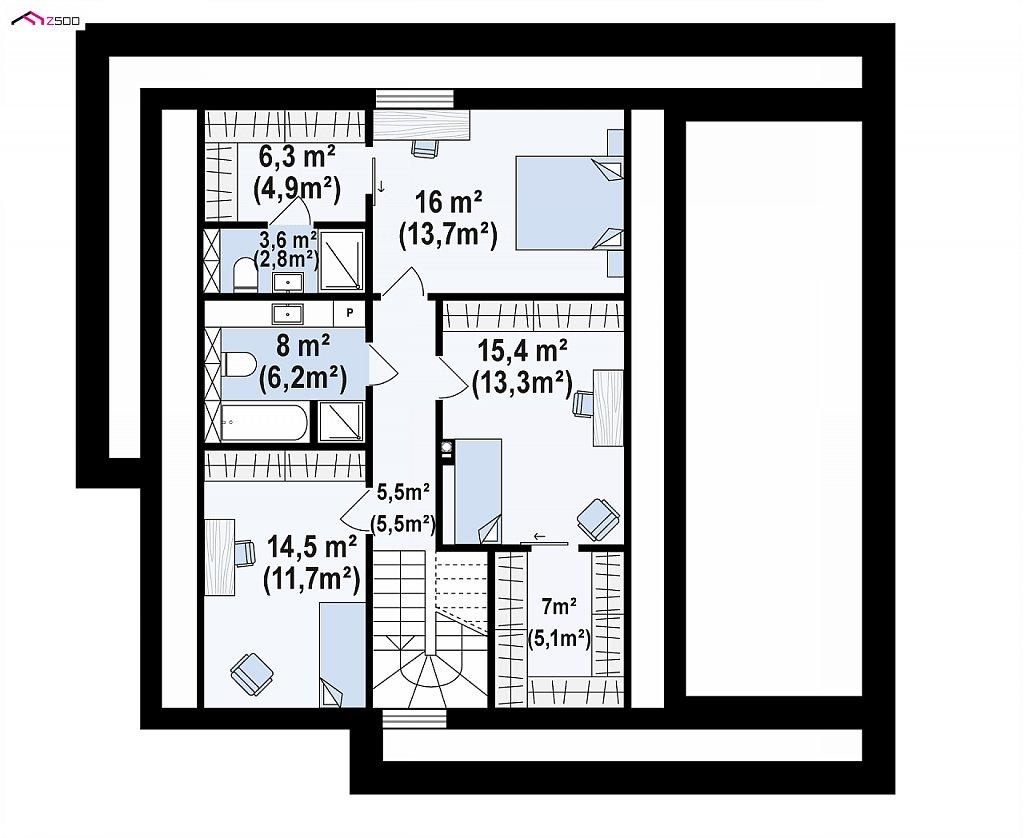 Просторный мансардный дом со светлой гостиной и гостевой комнатой на первом этаже. план помещений 2