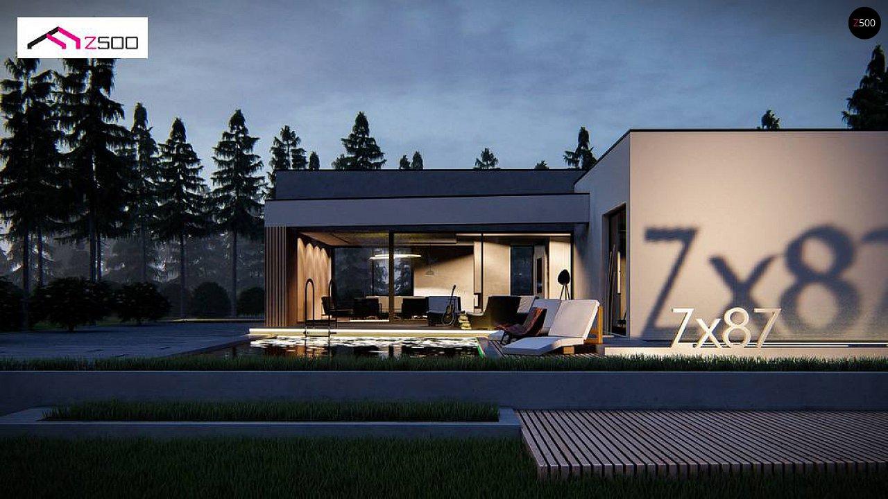 Современный одноэтажный дом с навесом для автомобиля 5