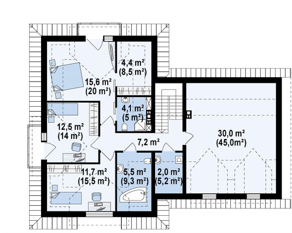 Комфортабельный дом с интересными фасадными окнами, с гаражом на два авто. план помещений 2