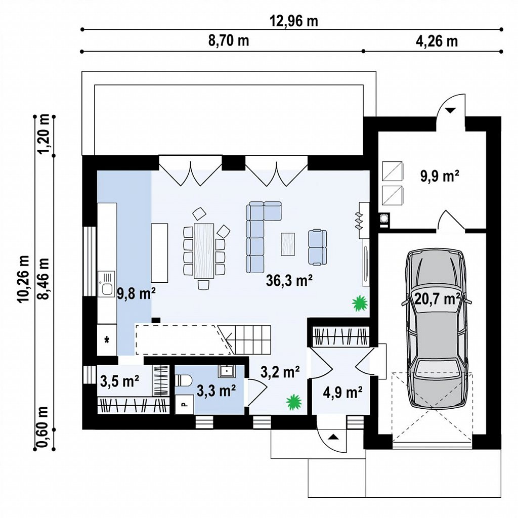 Дом с мансардой, гаражом и большой террасой план помещений 1