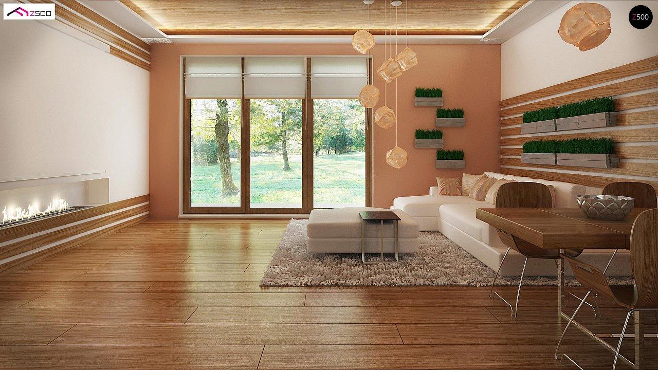 Аккуратный одноэтажный дом с деревянной отделкой на фасадах. 8