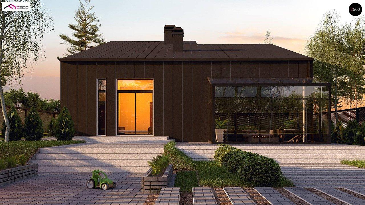 Проект современного двухэтажного дома с оригинальным экстерьером и гаражом на один автомобиль. 5
