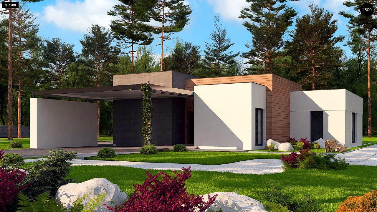 Одноэтажный дом с плоской кровлей в современном стиле и навесом для двух машин 1
