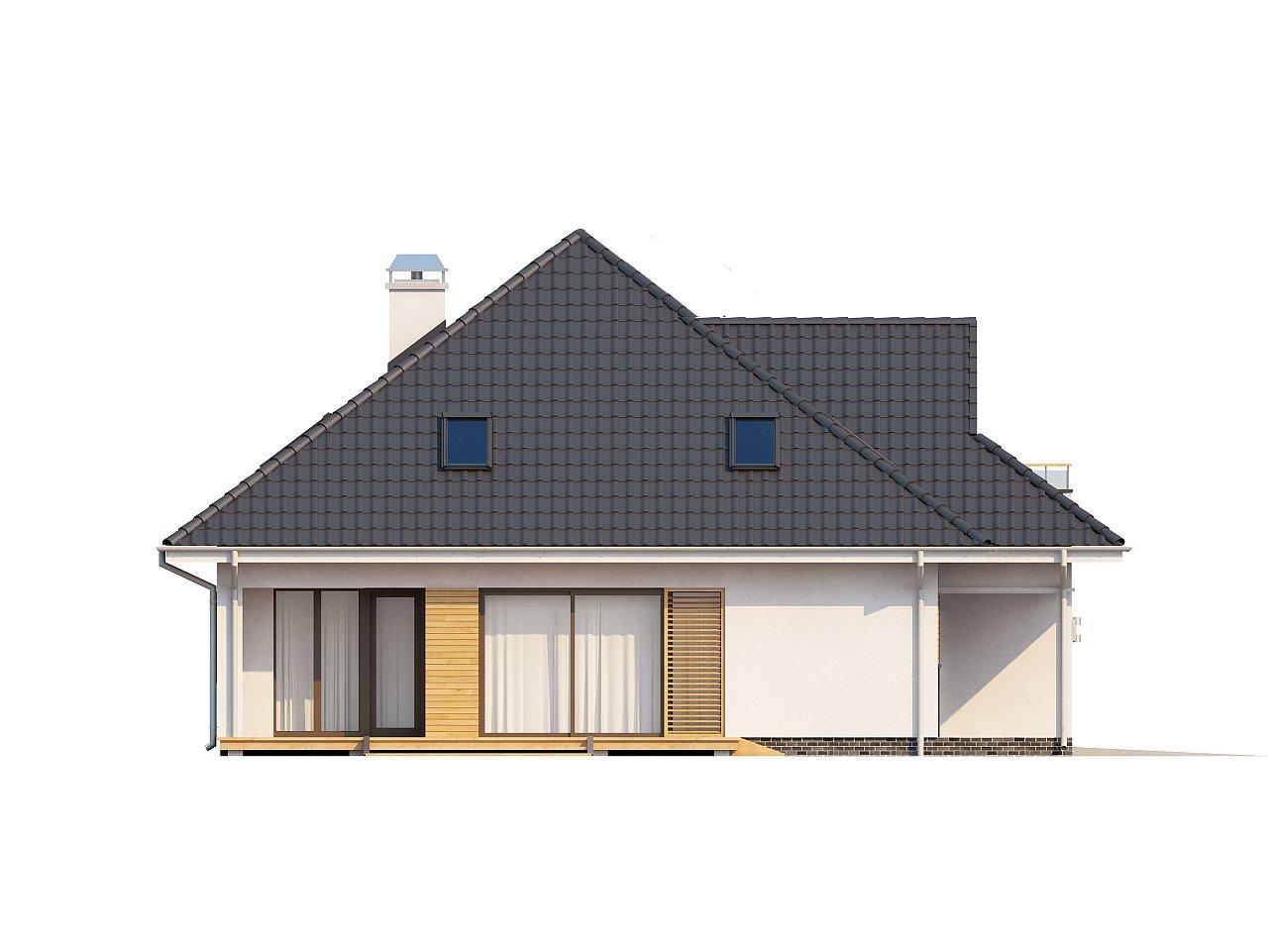 Красивый и функциональный дом с боковой террасой и необычным мансардным окном. 5