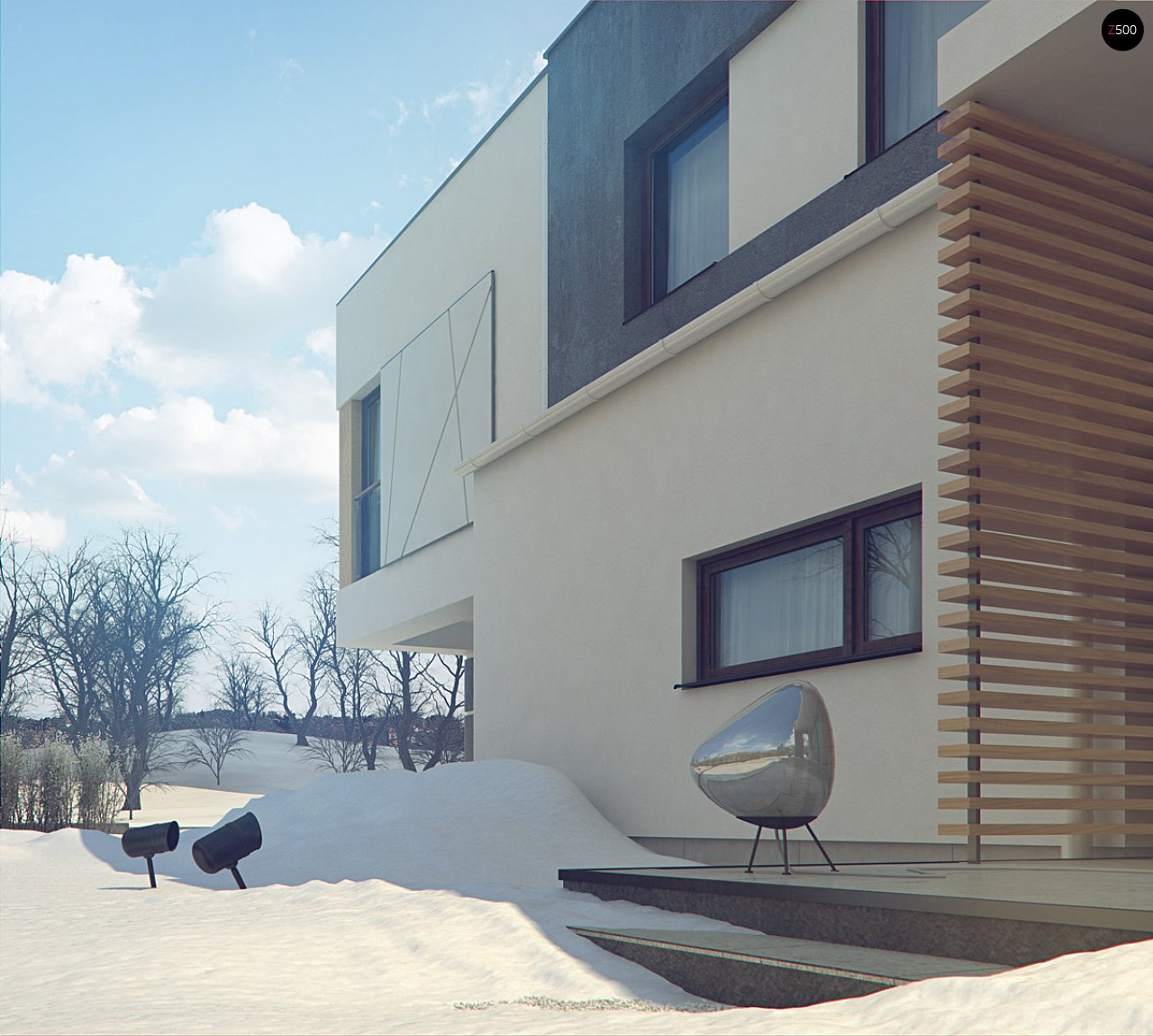 Дом характерного современного дизайна с гаражом и кабинетом на первом этаже. - фото 12