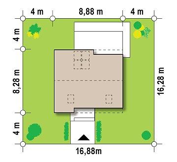 Компактный стильный дом простой формы с большой площадью остекления в дневной зоне. план помещений 1
