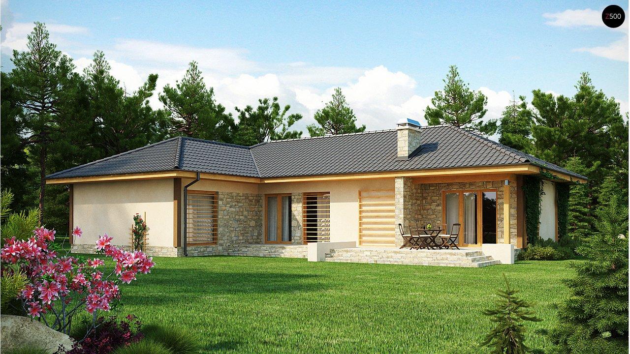 Проект одноэтажного дома с выступающим фронтальным гаражом. - фото 2