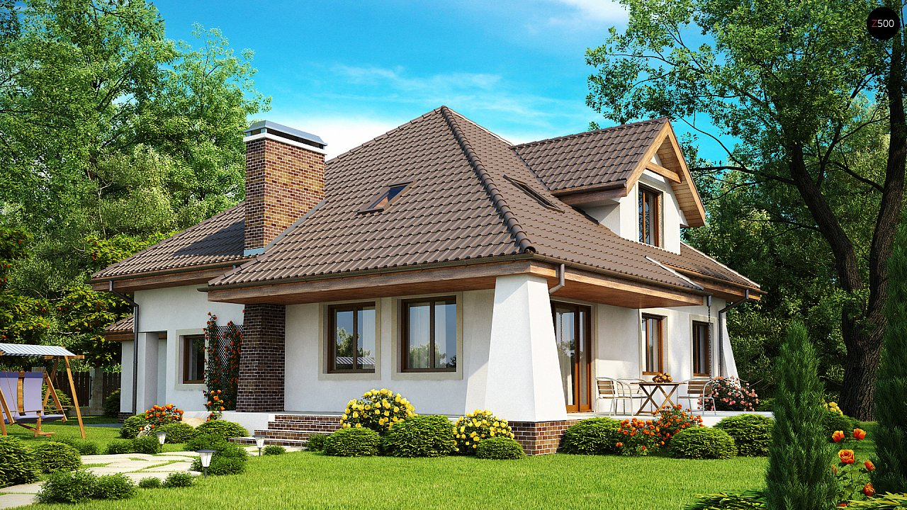 Удобный дом в классическом стиле с красивыми мансардными окнами и балконом. 2