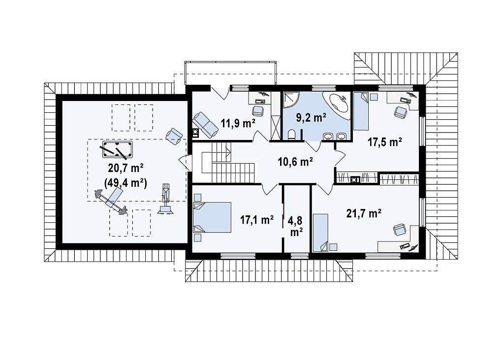 Просторный и функциональный двухэтажный дом с многоскатной кровлей и гаражом. план помещений 2