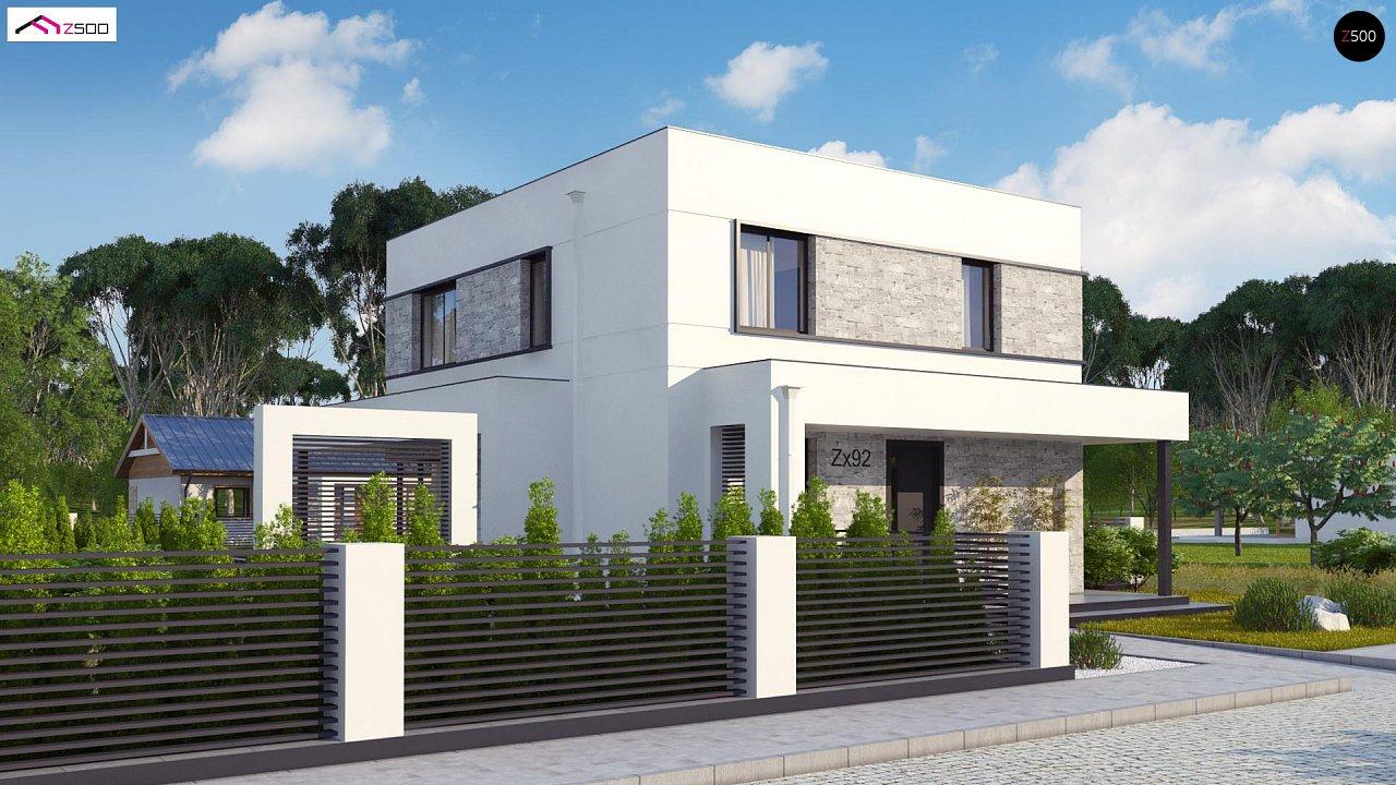 Простой аккуратный проект двухэтажного дома с плоской кровлей 3